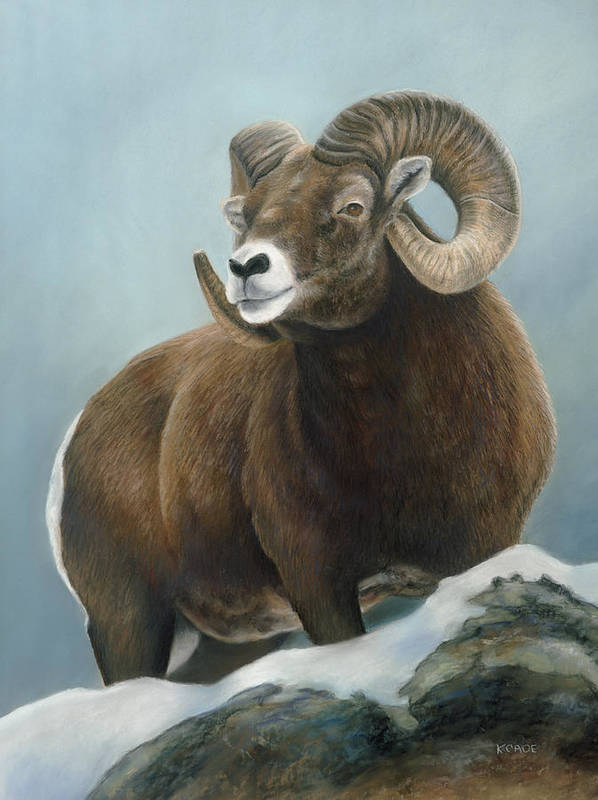 Big Horn Sheep Print featuring the pastel A Glimpse From The Edge by Karen Cade