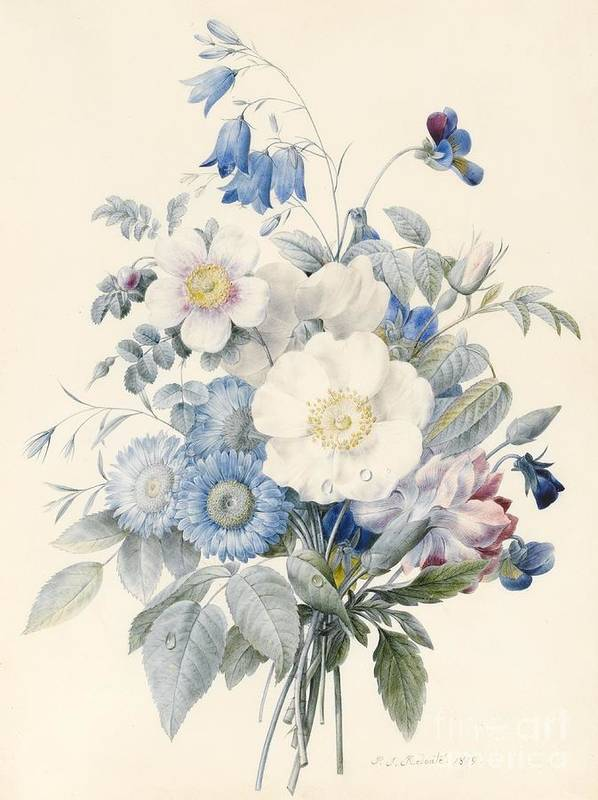 Astors Print featuring the painting A Spray Of Summer Flowers by Louise D Orleans