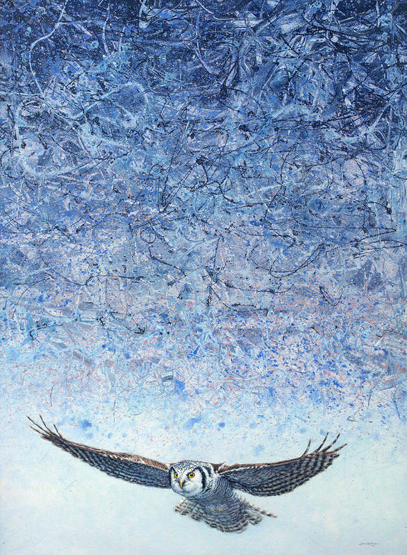Owl Print featuring the painting Ahead Of The Storm by James W Johnson