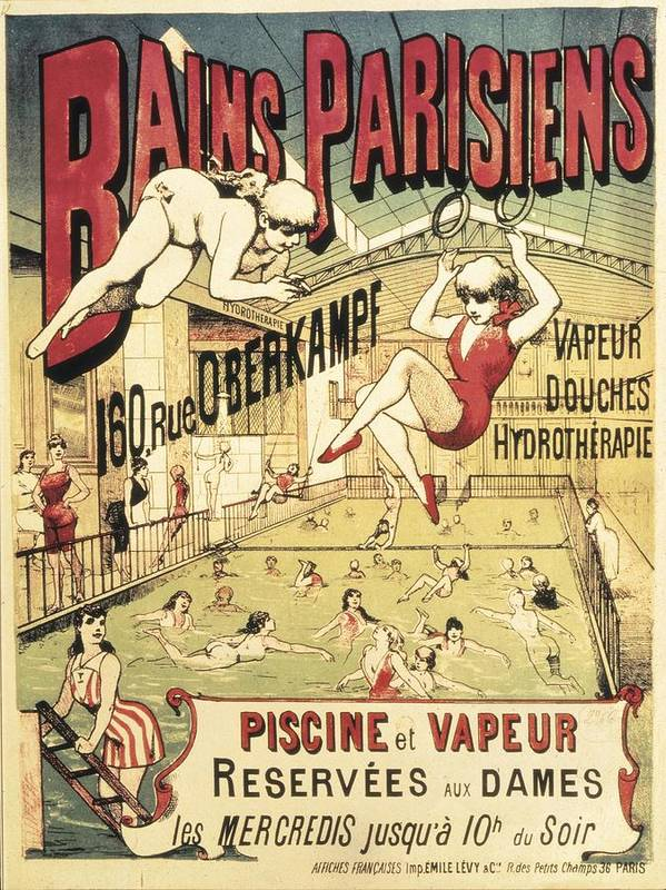 Vertical Print featuring the photograph Bains Parisiens. Advertisment Marking by Everett