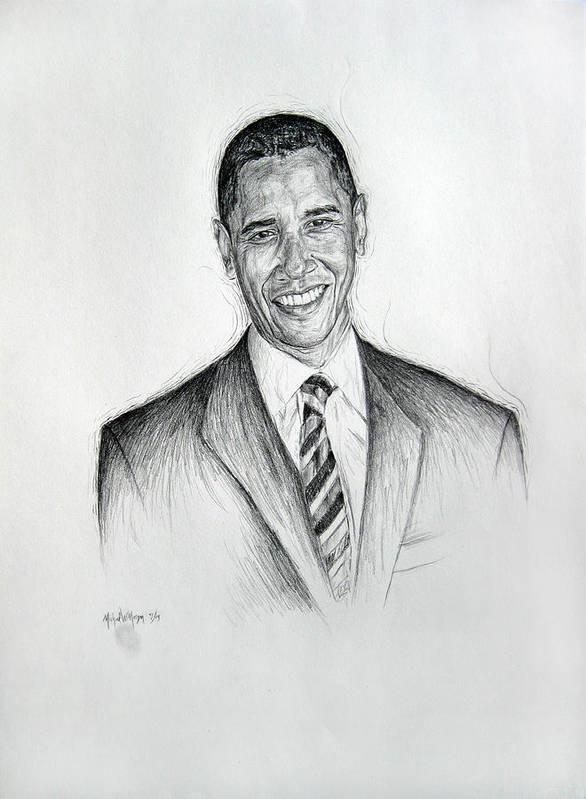 Barack Obama Print featuring the drawing Barack Obama 2 by Michael Morgan