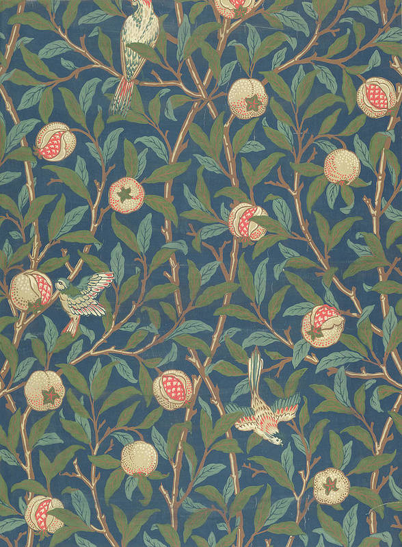 Arts And Crafts Movement Print featuring the tapestry - textile Bird And Pomegranate by William Morris