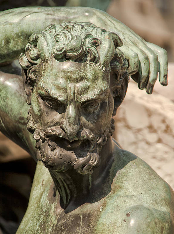 Architecture Art Print featuring the photograph Bronze Satyr In The Fountain Of Neptune Of Florence by Melany Sarafis