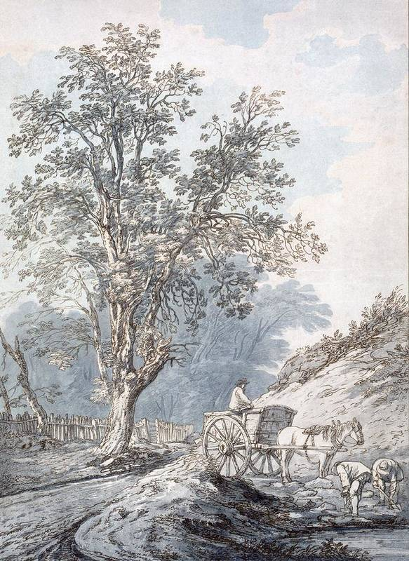 Horse And Cart Print featuring the painting Cart And Horse by Joseph Constantine Stadler