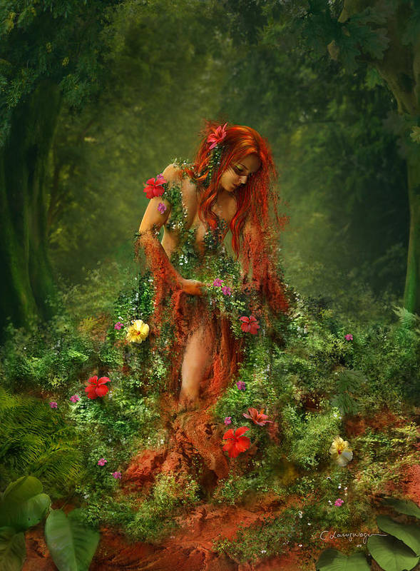 Fantasy Print featuring the digital art Elements - Earth by Cassiopeia Art