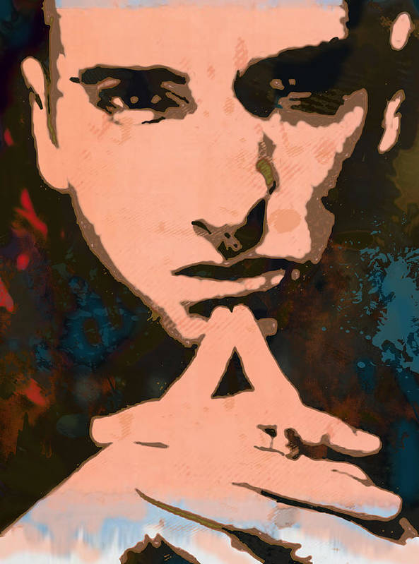 Art Drawing Sharcoal.ketch Portrait Print featuring the drawing Eminem - Stylised Pop Art Poster by Kim Wang