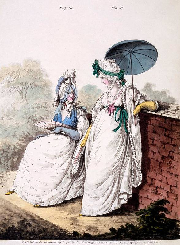 Fashion Print featuring the drawing Fashion Plate Of Ladies Morning Dress by English School