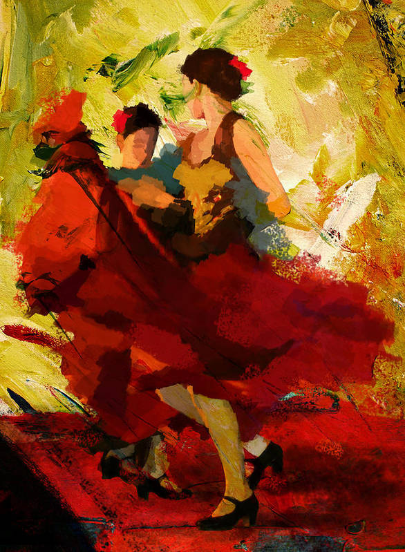 Jazz Print featuring the painting Flamenco Dancer 019 by Catf