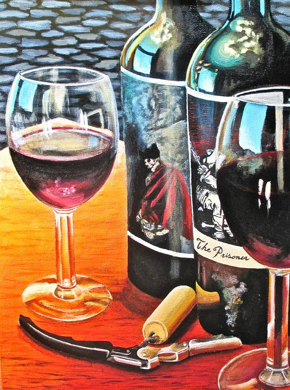 Wine Paintings Print featuring the painting Friends From Napa by Tim Eickmeier