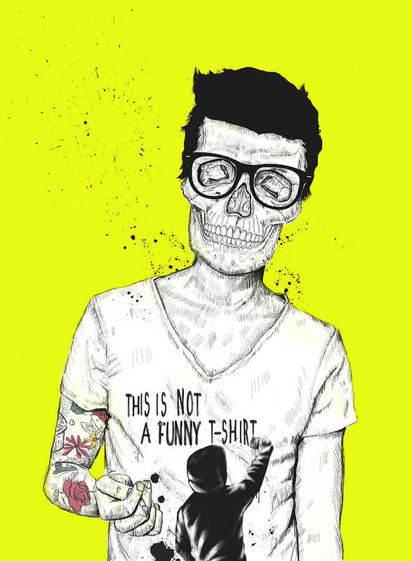 Skull Print featuring the drawing Hipsters Not Dead by Balazs Solti