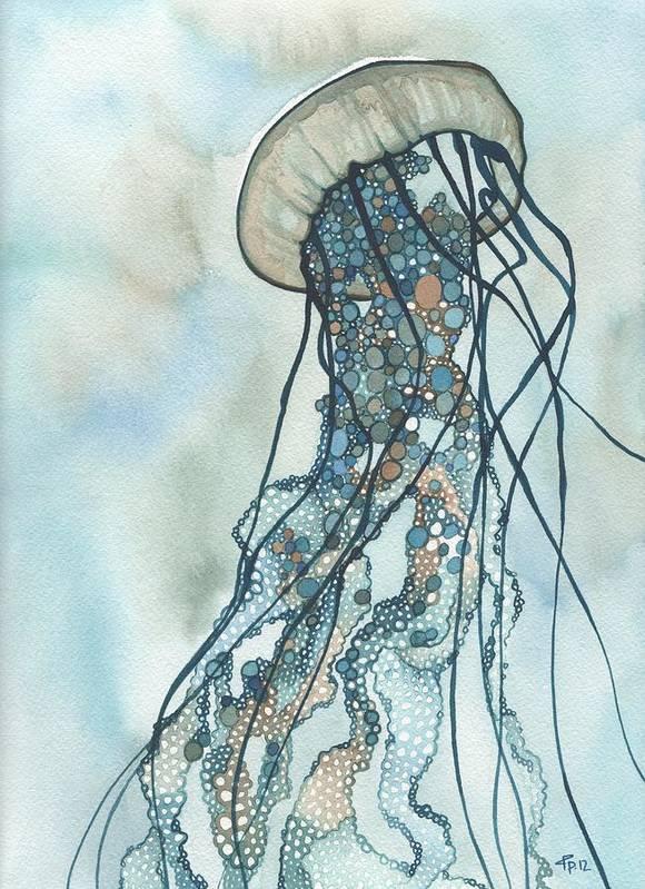 Marine Print featuring the painting Jellyfish Three by Tamara Phillips