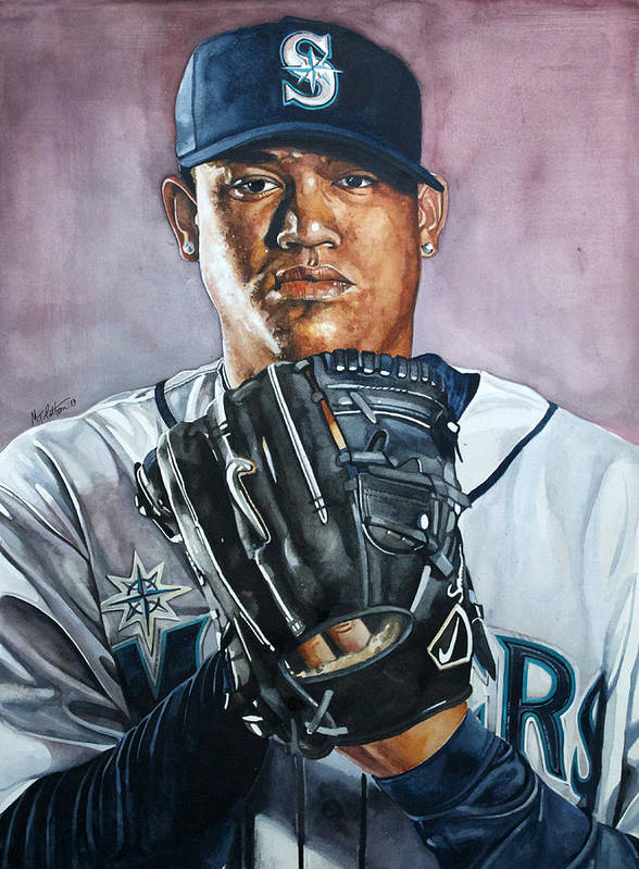 Felix Print featuring the painting King Felix Hernandez by Michael Pattison