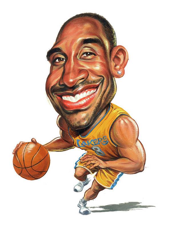 Kobe Bryant Print featuring the painting Kobe Bryant by Art