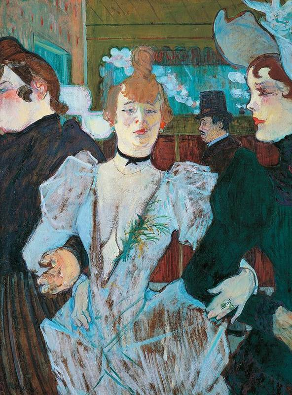 Art Print featuring the painting La Goulue Arriving At Moulin Rouge With Two Women by Henri de Toulouse Lautrec