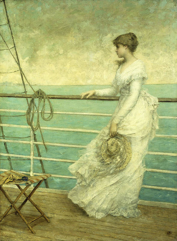 Lady; Deck; Ship; Sea; Seascape; Rigging; Ropes; Boat; Travel; Travelling; Journey; Transport; Young; Youth; Romantic; Pretty; Beauty; Beautiful; White; Lace; Dress; Demure; Lost In Thought; Pensive; Thoughtful; Hat; Stool; Seat; Victorian; On Deck Print featuring the painting Lady On The Deck Of A Ship by French School