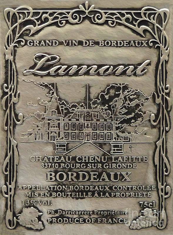 Wine Print featuring the mixed media Lamont Grand Vin De Bordeaux by Jon Neidert