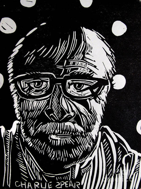 Auto-portrait Print featuring the relief Lino Cut Charlie Spear by Charlie Spear