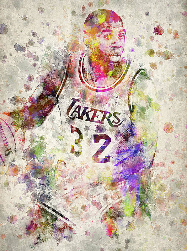Magic Johnson Print featuring the drawing Magic Johnson by Aged Pixel