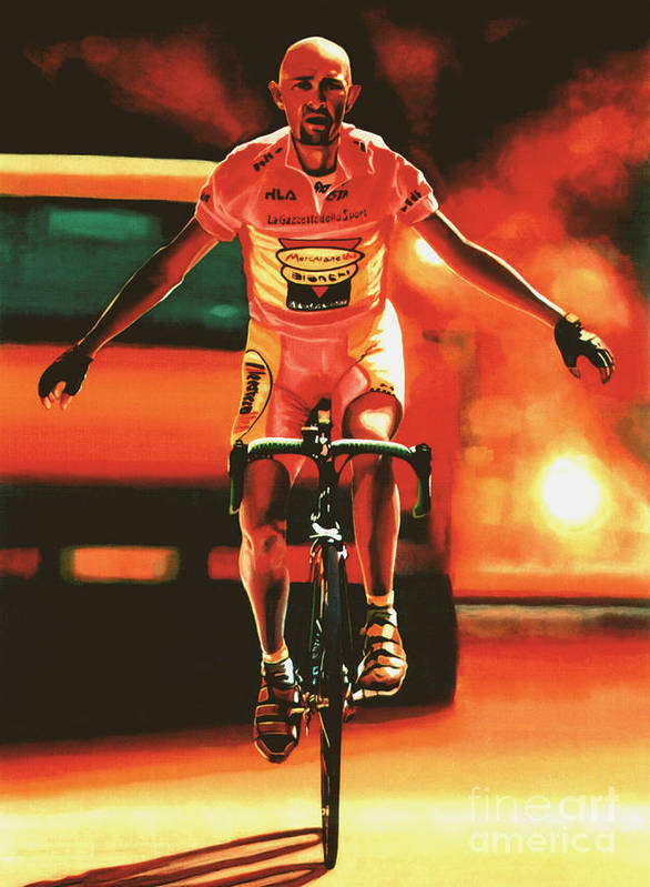 Marco Pantani Print featuring the painting Marco Pantani by Paul Meijering