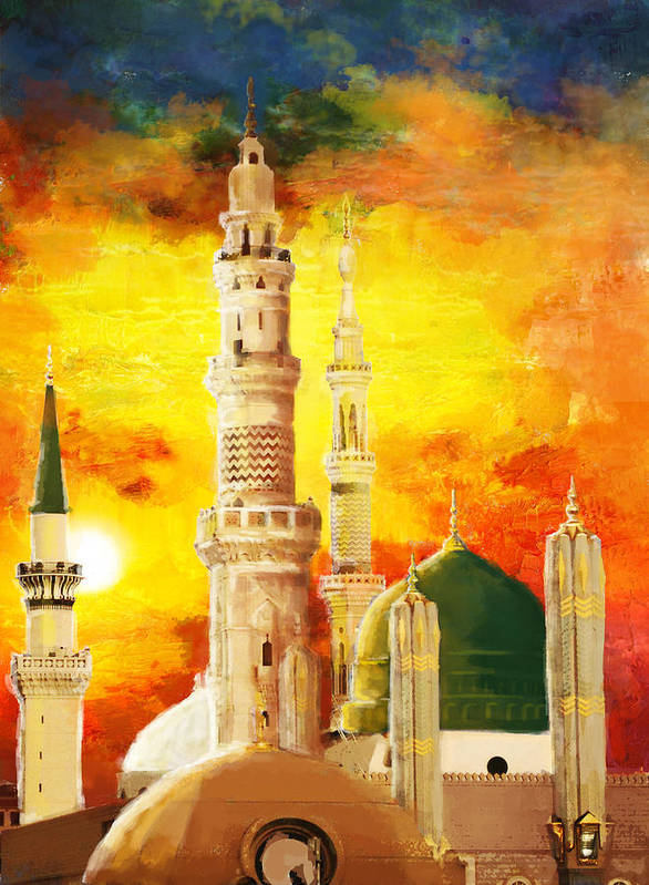Islamic Print featuring the painting Masjid E Nabwi by Catf