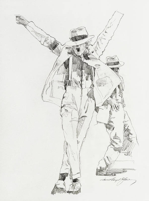 Michael Jackson Print featuring the drawing Michael Smooth Criminal by David Lloyd Glover
