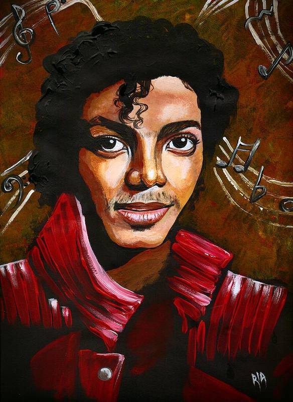 Mj Print featuring the drawing MJ by RiA RiA
