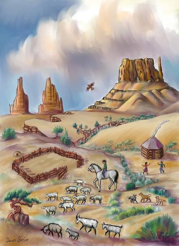 Navajo Print featuring the digital art Navajo Sheepherder - Age 11 by Dawn Senior-Trask