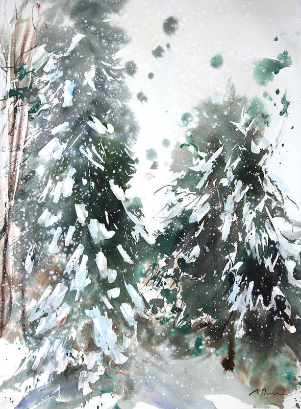 Woods Print featuring the painting New England Landscape No.223 by Sumiyo Toribe
