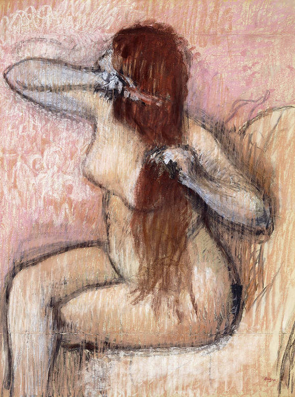 1880s Print featuring the painting Nude Seated Woman Arranging Her Hair Femme Nu Assise Se Coiffant by Edgar Degas