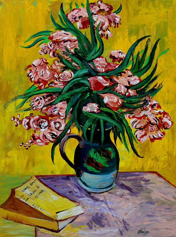 Oleander Print featuring the painting Oleanders by Karon Melillo DeVega