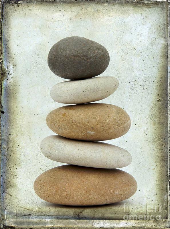 Studio Shot Print featuring the photograph Pile Of Pebbles by Bernard Jaubert