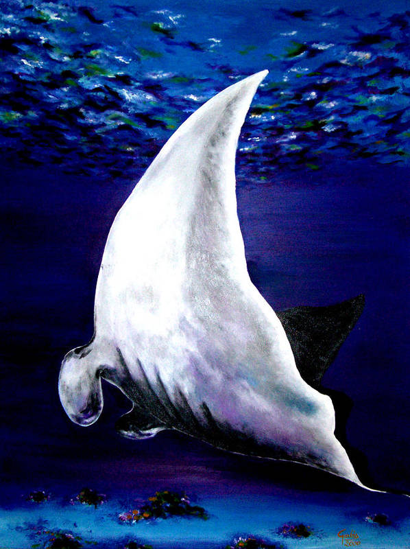 Manta Ray Print featuring the painting Plankton Quest by Garbis Bartanian