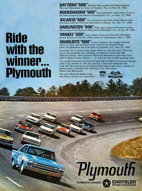 Ride Print featuring the digital art Ride With The Winner... Plymouth by Digital Repro Depot