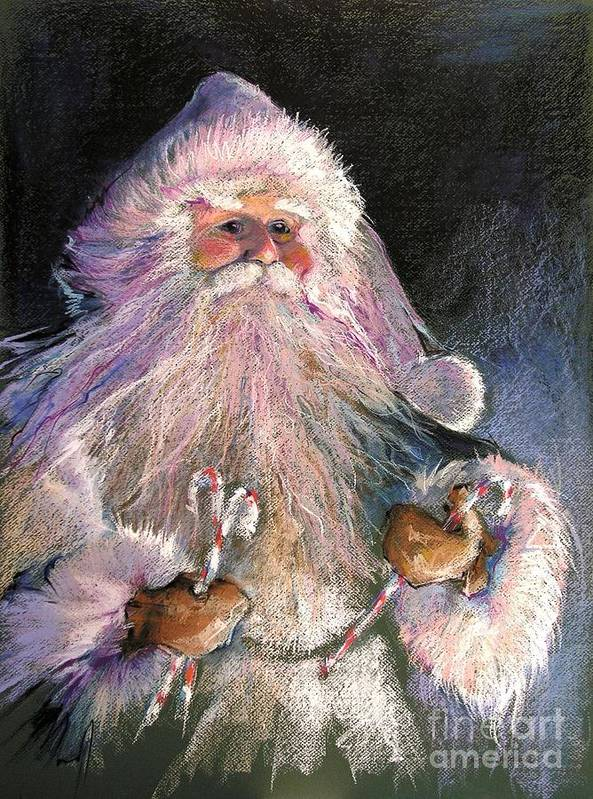 Santa Print featuring the painting Santa Claus - Sweet Treats At Fireside by Shelley Schoenherr