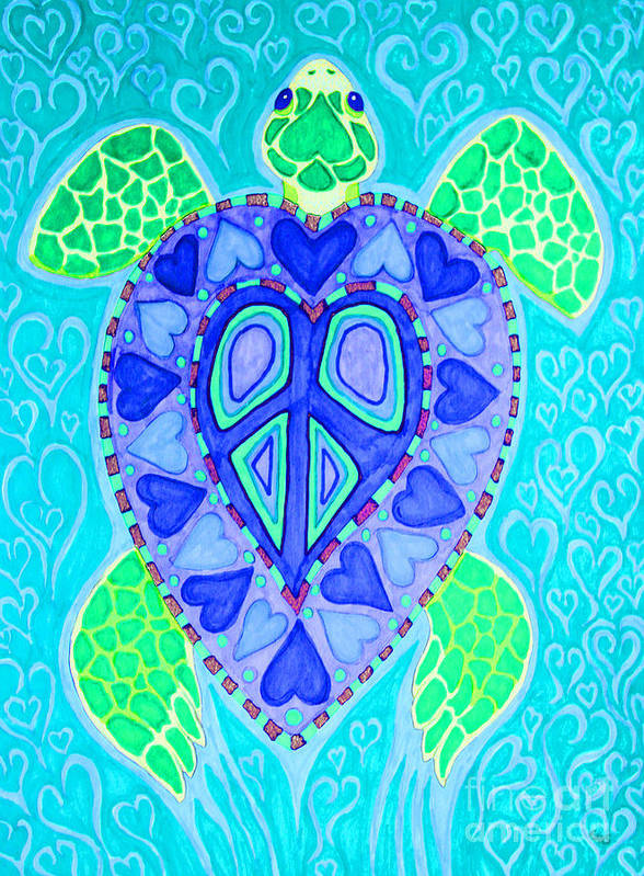 Sea Turtle Print featuring the drawing Sea Turtle Swim by Nick Gustafson