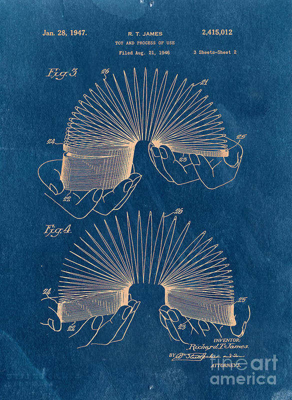 Slinky Print featuring the drawing Slinky Toy Blueprint by Edward Fielding