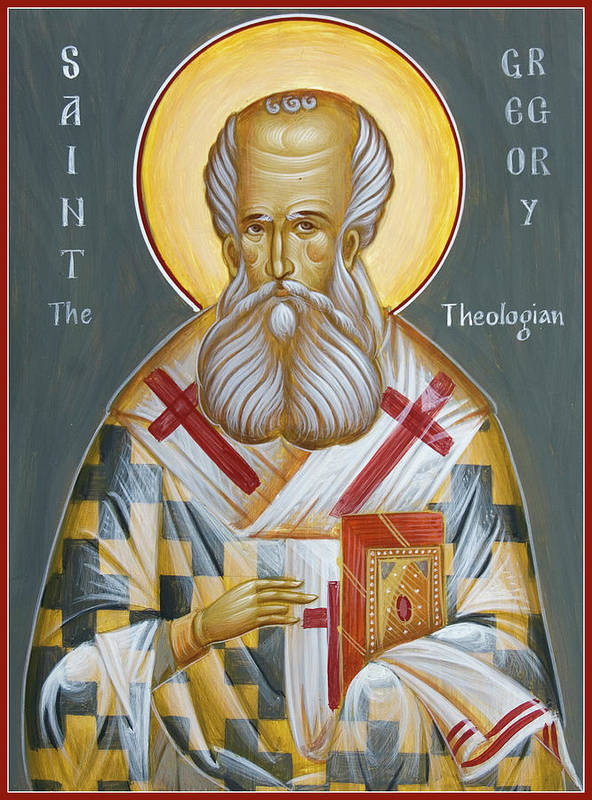 Orthodox Icon Print featuring the painting St Gregory The Theologian by Julia Bridget Hayes