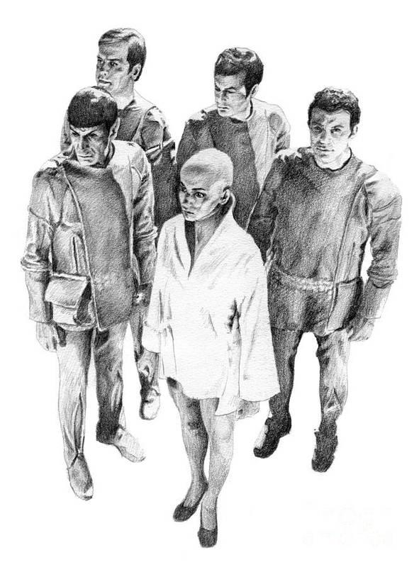 Star Trek Print featuring the drawing Star Trek - Meeting With V'ger by Liz Molnar