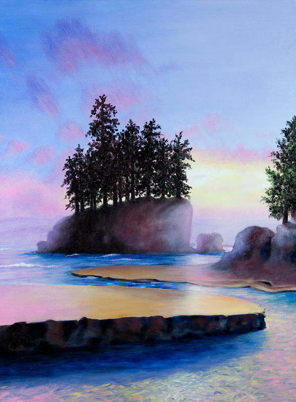 Landscape Print featuring the painting Sunset At Tongue Point by Shelley Irish
