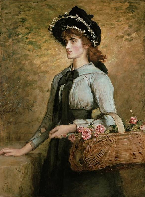 Basket Print featuring the painting Sweet Emma Morland by Sir John Everett Millais