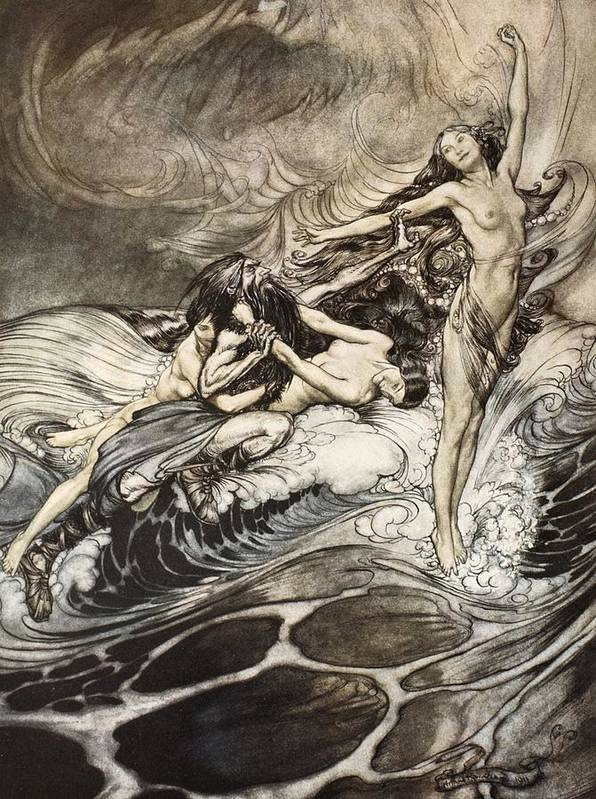 Der Ring Des Nibelungen; The Ring Of The Nibelung; Myth; Legend; Opera; The Ring Cycle; Richard Wagner; Viking; Norse Mythology; Character; Characters; Female; Mermaids; Twilight Of The Gods; Waves; Warrior; Rhine Maidens; Water; Surge; Water-nymphs; Nymphs; Victorious; Triumphant; Combat; Battle; Fighting; Woglinde; Wellgunde; Flosshilde Print featuring the drawing The Rhinemaidens Obtain Possession Of The Ring And Bear It Off In Triumph by Arthur Rackham