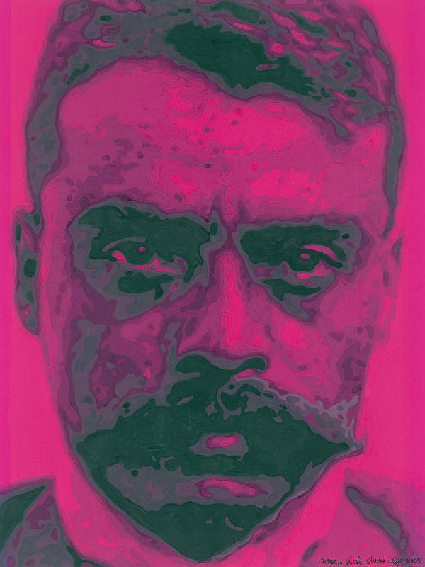 Emiliano Zapata Print featuring the painting Zapata Intenso by Roberto Valdes Sanchez