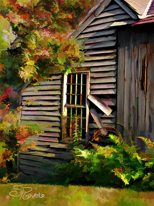 Shed Print featuring the painting Shed by Suni Roveto
