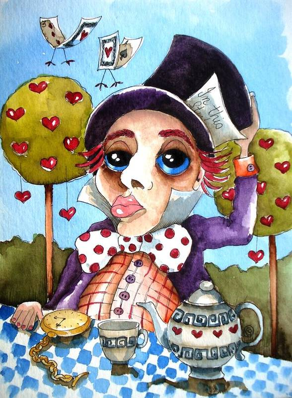 Alice Print featuring the painting The Mad Hatter by Lucia Stewart