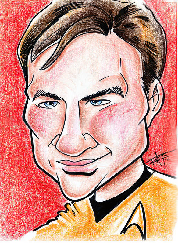 Big Mike Roate Print featuring the drawing Captain James T. Kirk by Big Mike Roate