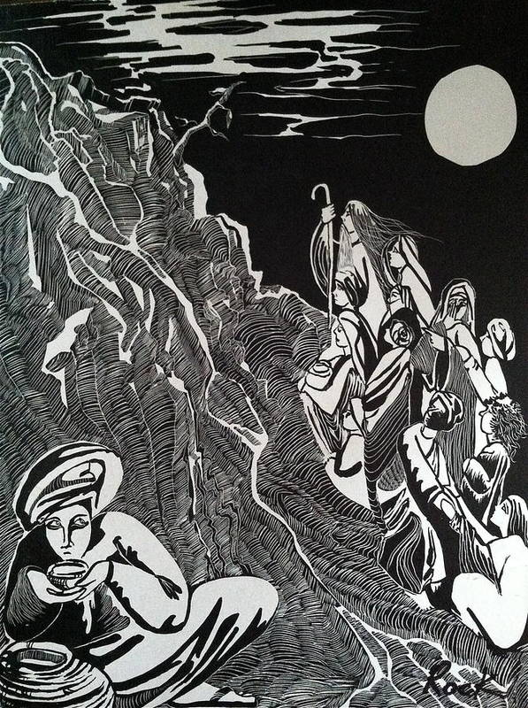 Bible Madman Black White Moon Print featuring the drawing Don't Drink The Water by Jackie Rock