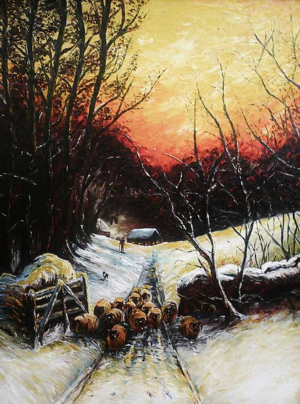 Snow Print featuring the painting Homeward Bound by Andrew Read