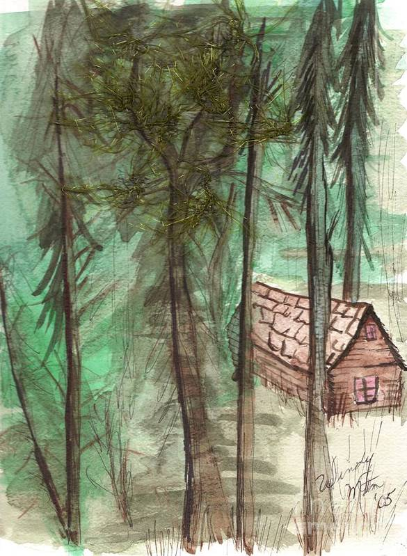 Forest Print featuring the painting Imaginary Cabin by Windy Mountain
