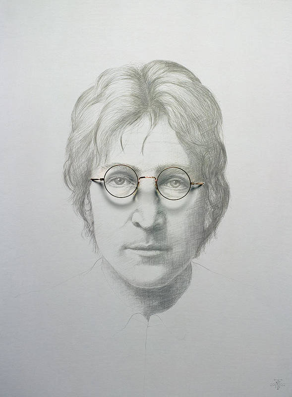 John; Lennon; The Beatles; 60s; 1960s; Sixties; Band; Musician; Song Writer; Male Portrait; Glasses; Singer; Spectacles Print featuring the painting Lennon by Trevor Neal
