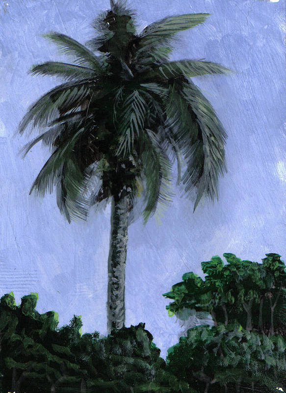 Palm Print featuring the painting Lone Palm by Edward Walsh